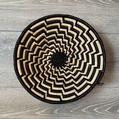 Woven Sisal Basket, Feathered Monochrome Pattern