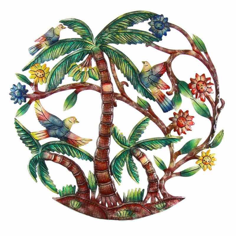 Palm Tree Scene Haitian Steel Drum Wall Art, 24""