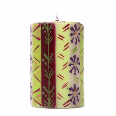 Unscented Hand-Painted Pillar Candle in Gift Box, 4-inch (Kileo Design)