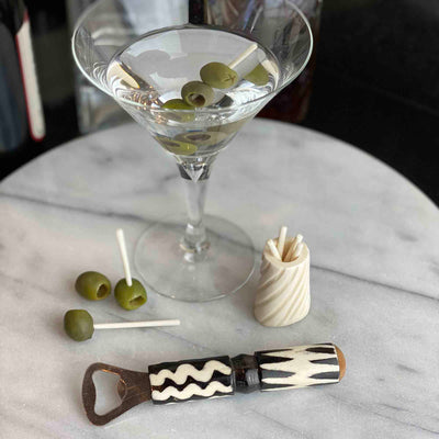 Bar Kit Cocktail Picks with Jar & Bottle Opener, Natural Bone