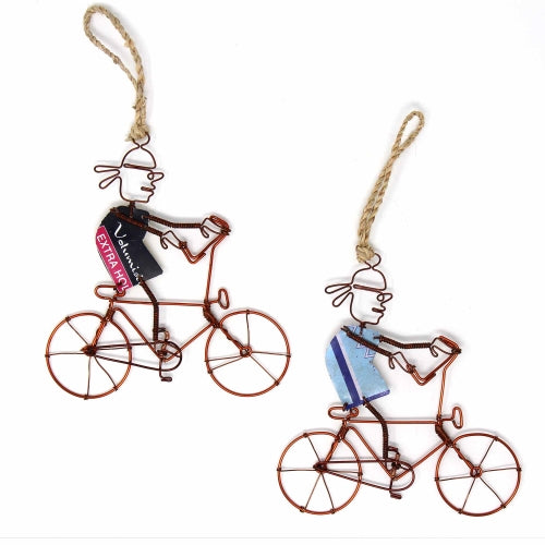 Recycled Wire Ornaments Bandana Bicycle Rider, Set of 2