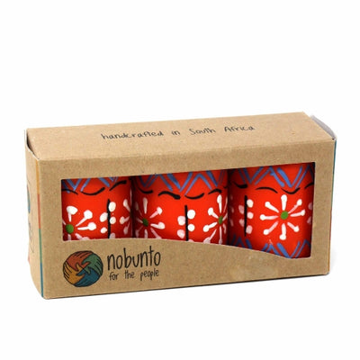 Unscented Hand-Painted Orange Votive Candles, Boxed Set of 3 (Masika Design)