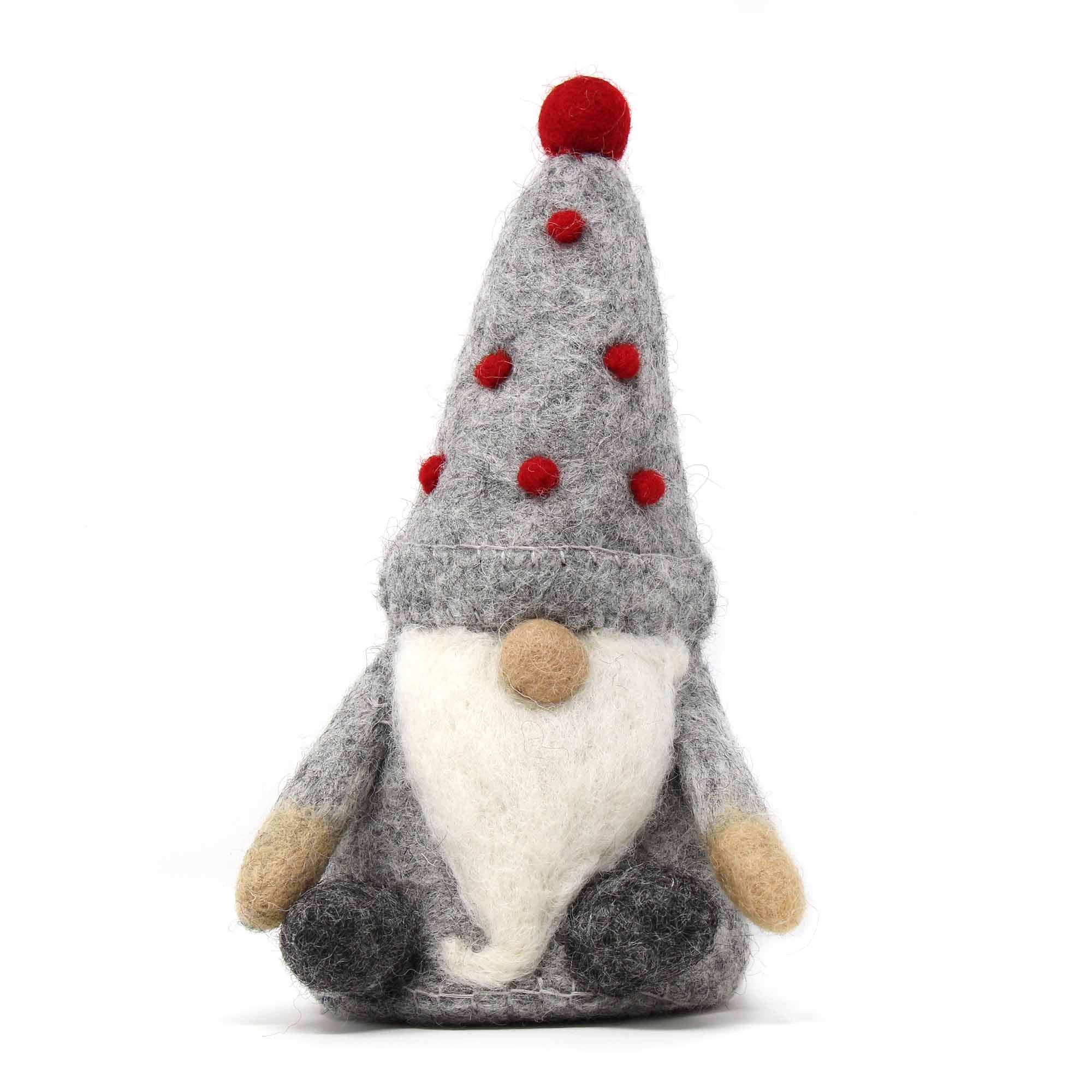 Winkle Gnome: Grey with Red Pompoms on hat