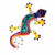 "8"" Painted Gecko Recycled Haitian Metal Wall Art Multi Colored, Multicolored with Yellow Feet"