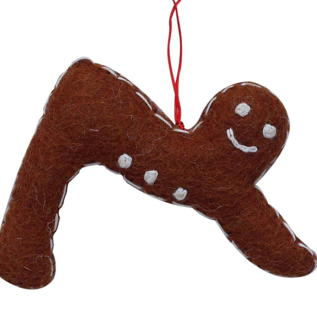Gingerbread Yogi Felt Ornament - Downward Facing Dog Pose