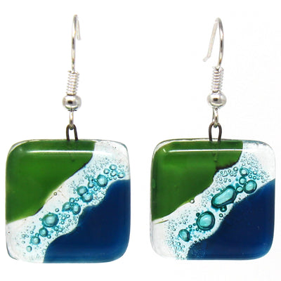 Square Glass Dangle Earrings, Blue Green Waves