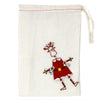 Dancing Girl Santa Pin with Linen Gift Bag - The Takataka Collection
