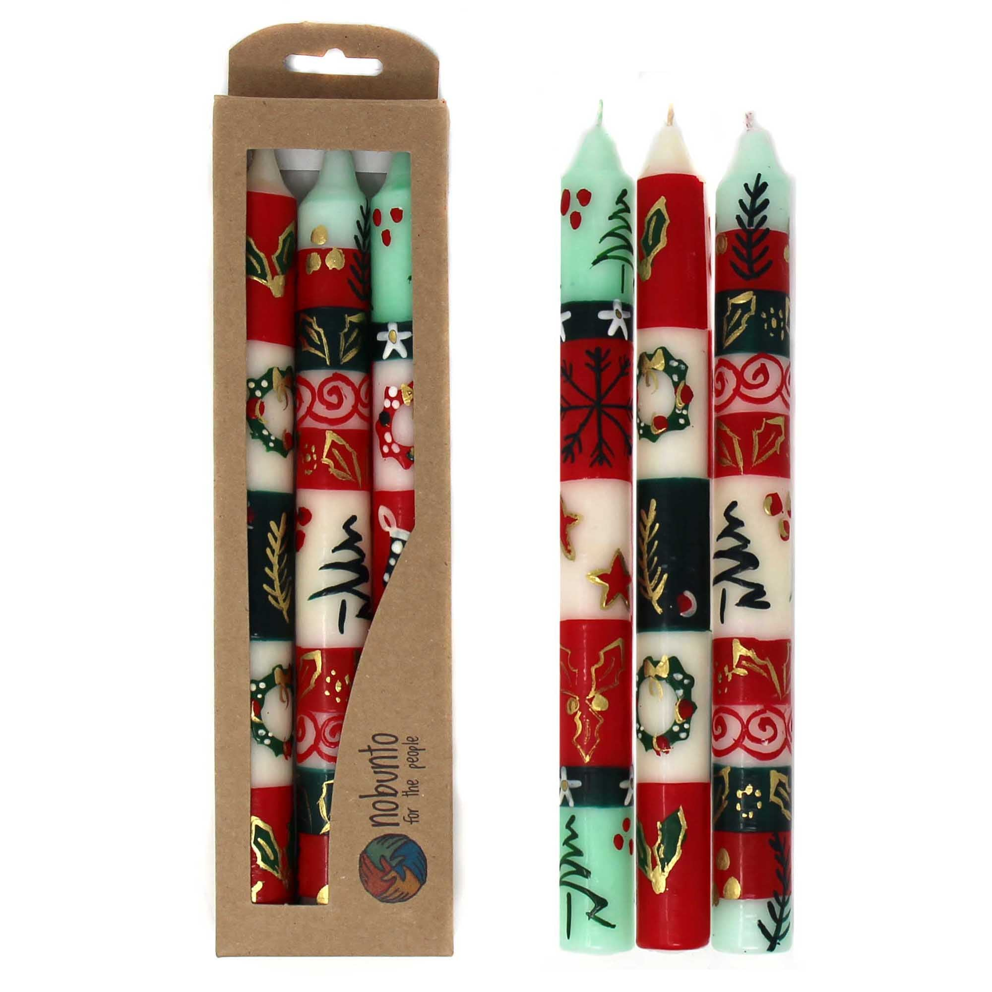 Set of Three Boxed Tall Hand-Painted Candles - Ukhisimui Design