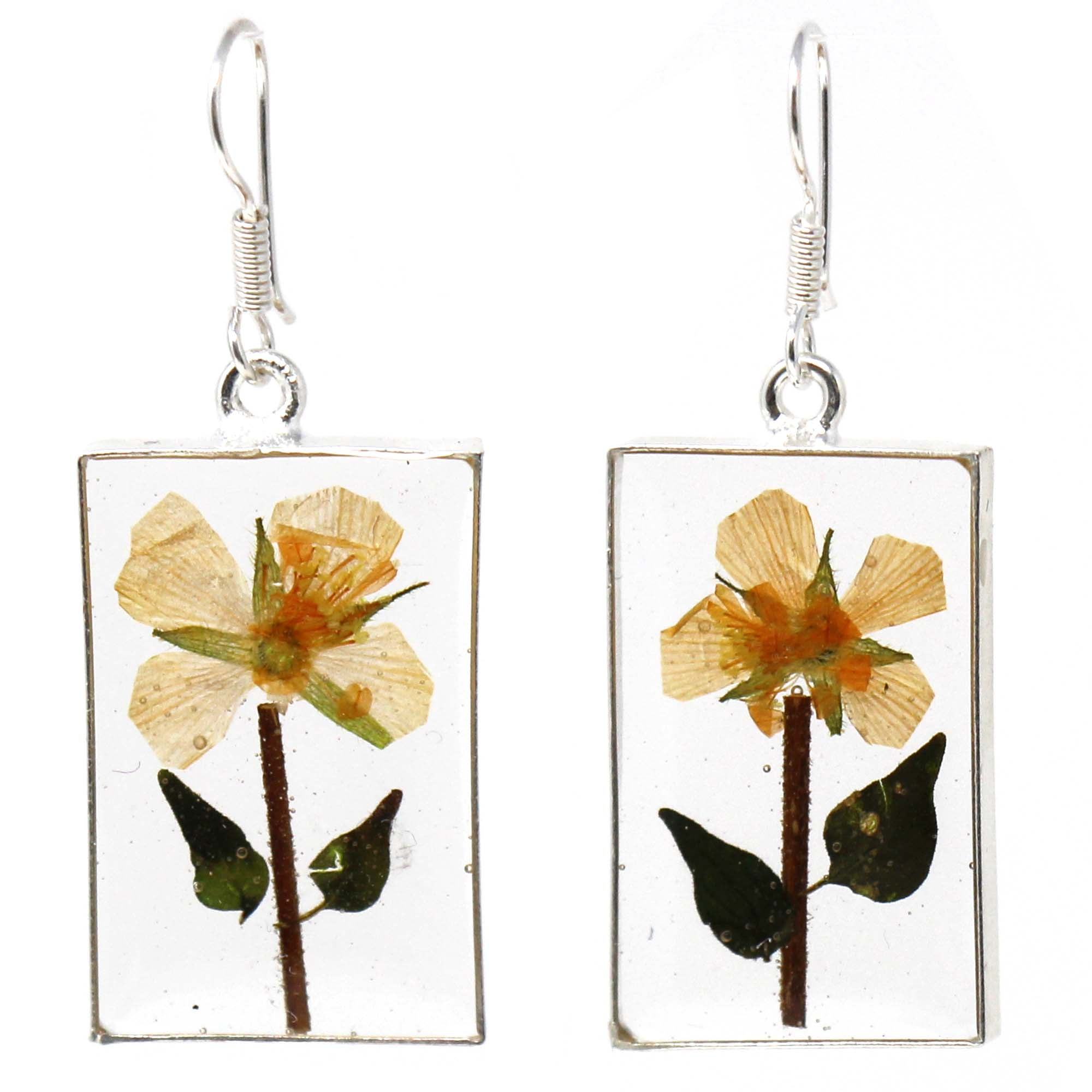 Alpaca Silver Pressed Yellow Flower Earrings