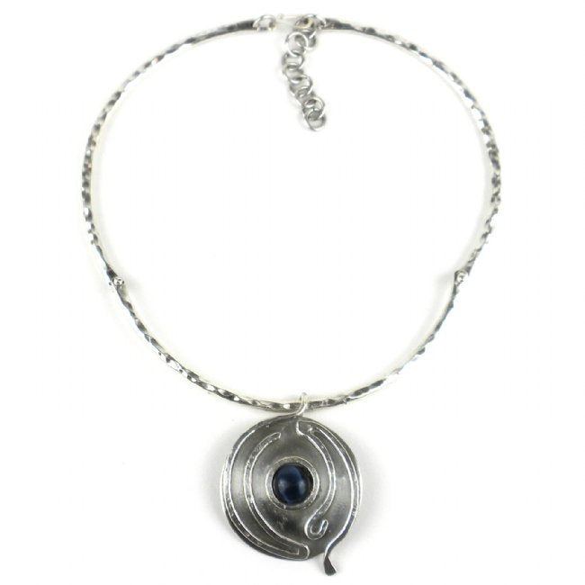 Blue Tiger Eye Wordly Silverplated Necklace - Brass Images