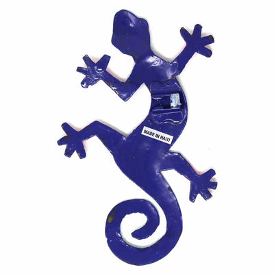 Eight inch Painted Gecko Recycled Haitian Metal Wall Art Blue-Greens Blue Candy