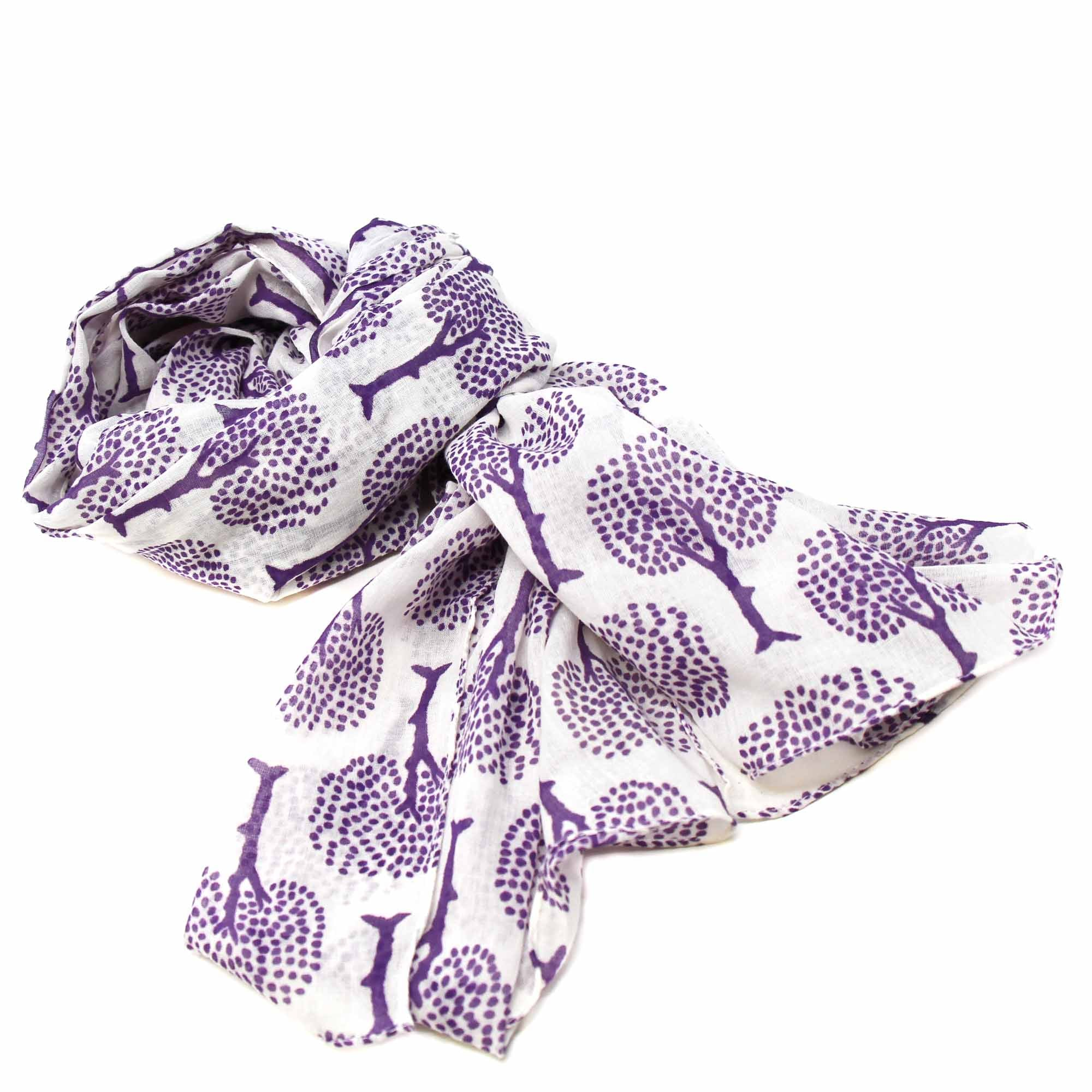 Hand-printed Cotton Scarf, Tree of Life Design