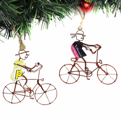 Recycled Wire Ornaments Bicycle Riders in Hat and Bandana, Set of 2