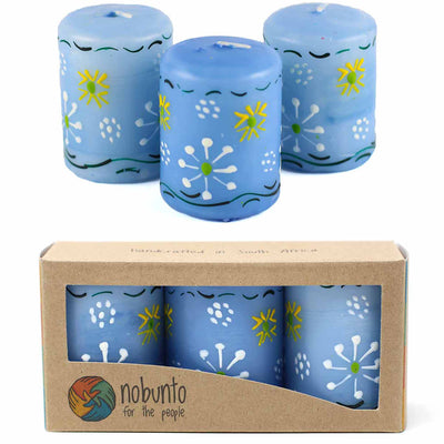 Unscented Hand-Painted Blue Votive Candles, Boxed Set of 3 (Masika Design)