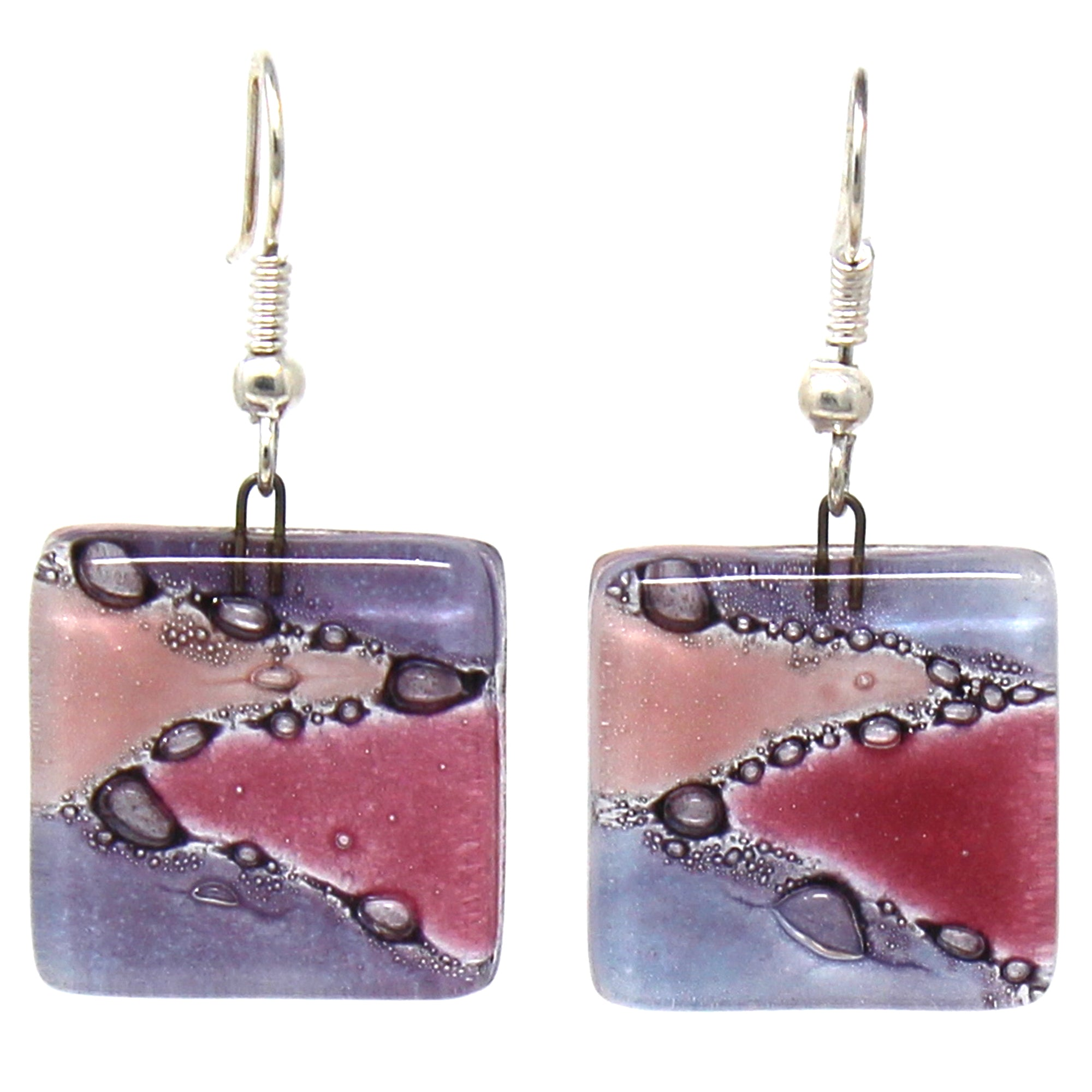 Square Glass Dangle Earrings, Zig Zag Purple & Pink
