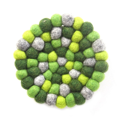 Hand Crafted Felt Ball Trivets from Nepal: Round Chakra, Greens