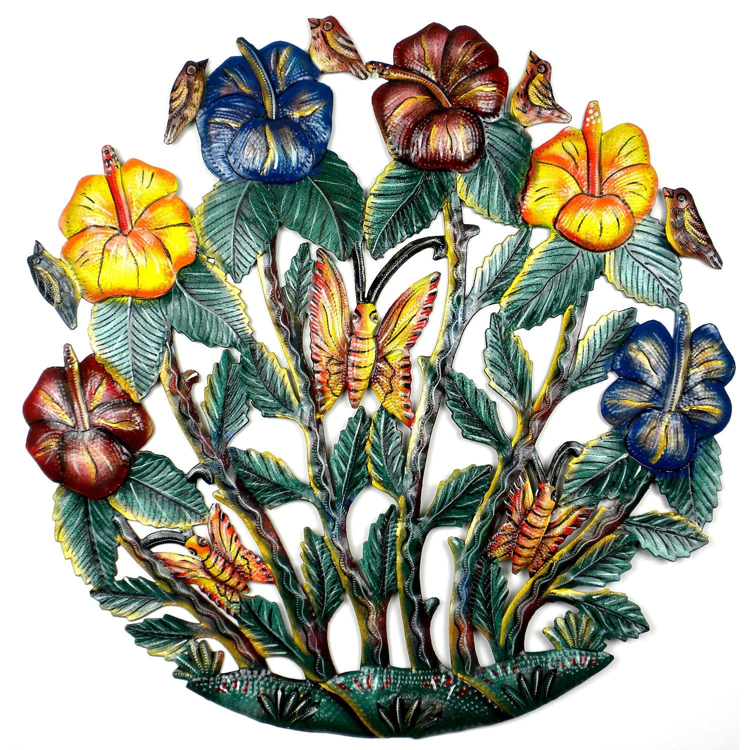 Painted Flower Garden Metal Wall Art