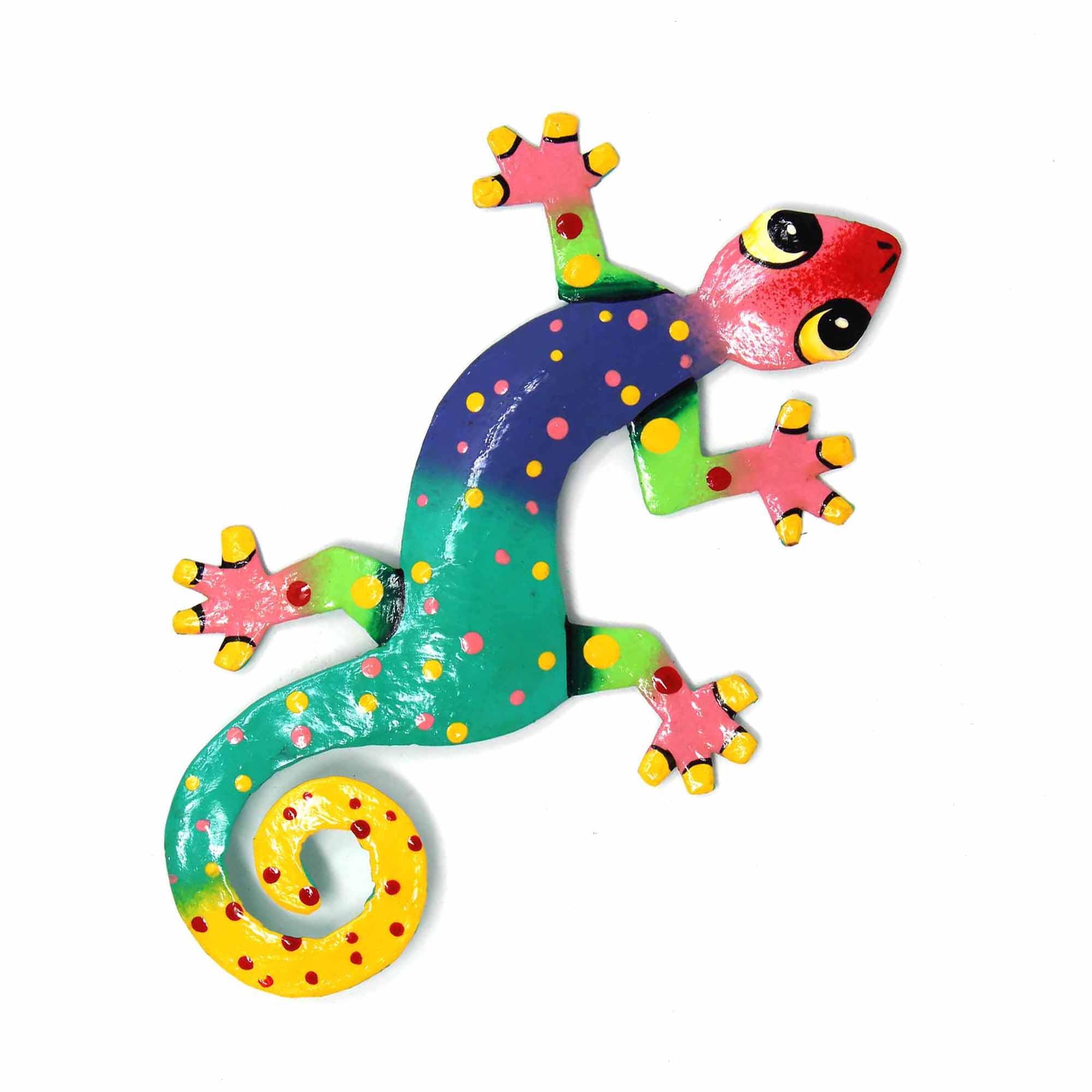 Eight inch Painted Gecko Recycled Haitian Metal Wall Art Blue-Greens Blue Green with Pink Head