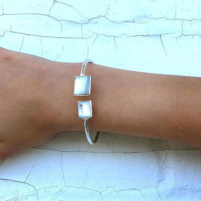Alpaca Silver Mother-of-Pearl Squares Cuff Bracelet