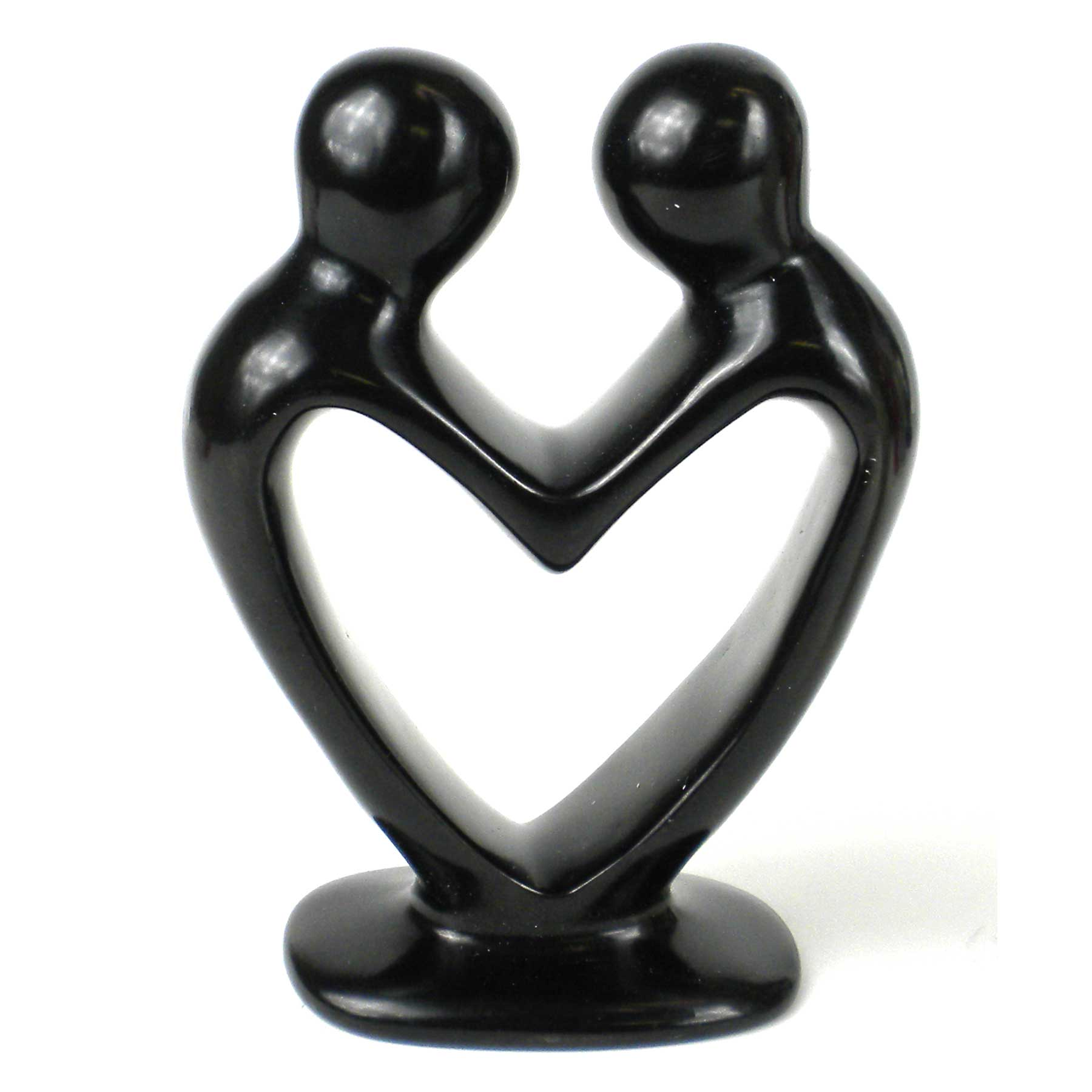 Soapstone Lovers Heart Black - 6 Inch