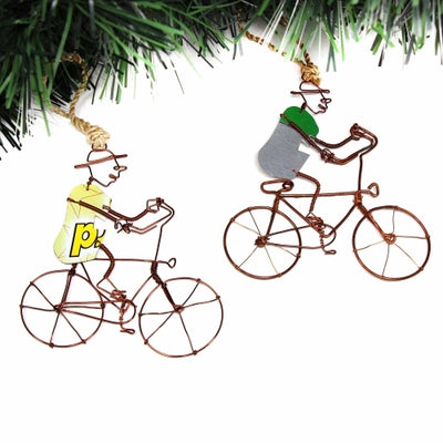 Recycled Wire Ornament Bicycle Rider in Hat, Set of 2