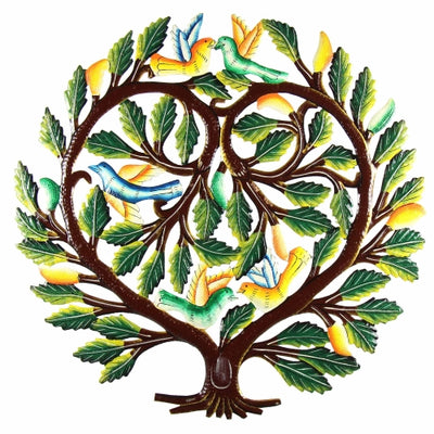 Tree of Life Heart Haitian Steel Drum Wall Art, 24""