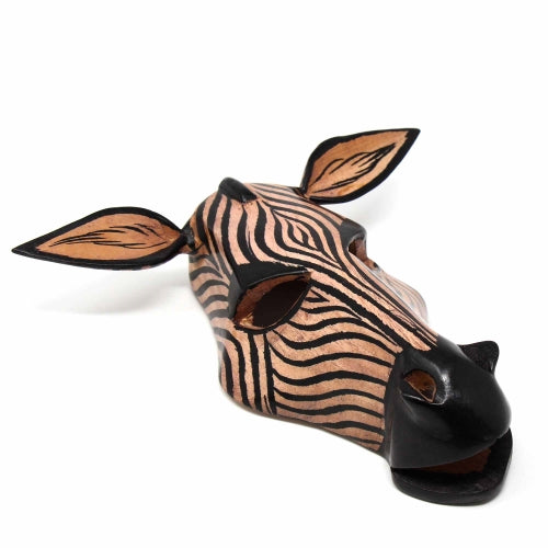 Hand-carved Wooden African Zebra Mask
