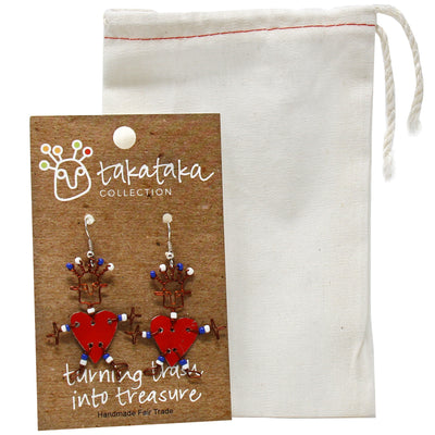 Dancing Heart Earrings and Pin Set in Red