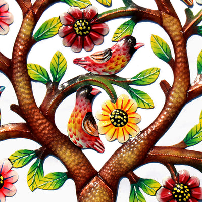 Rooted Tree of Life in Circle Painted Haitian Metal Drum Wall Art, 24""