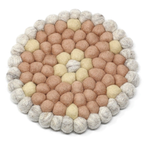 Hand Crafted Felt Ball Trivets from Nepal: Round Flower Design, Pink