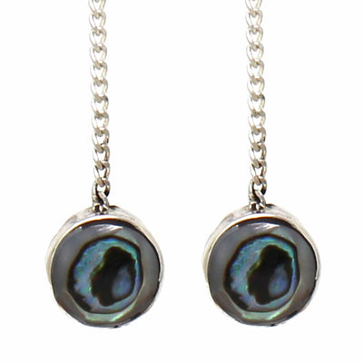 Sterling Silver Threaded Chain Earring with Abalone