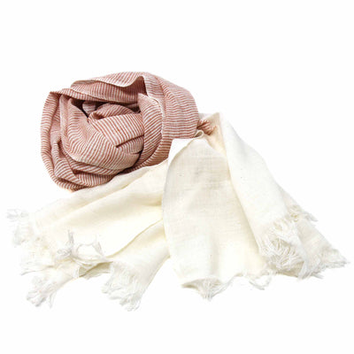 Dyed Rust and Cream Cotton Scarf with Fringes