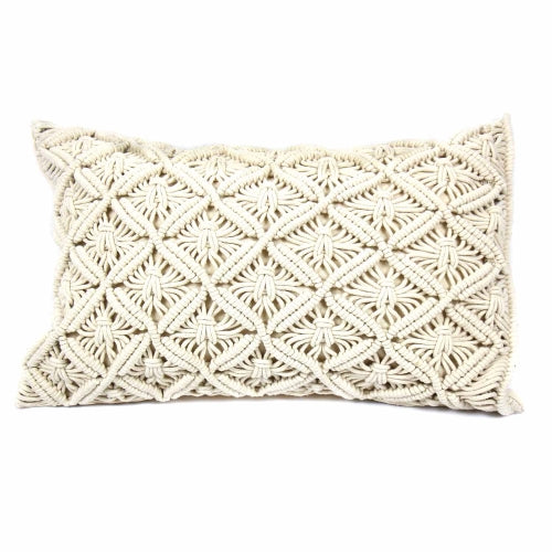 Macrame Cushion Cover, Rectangular Beige