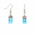 Rectangle Glass Dangle Earrings, Pink & Blue Bubble