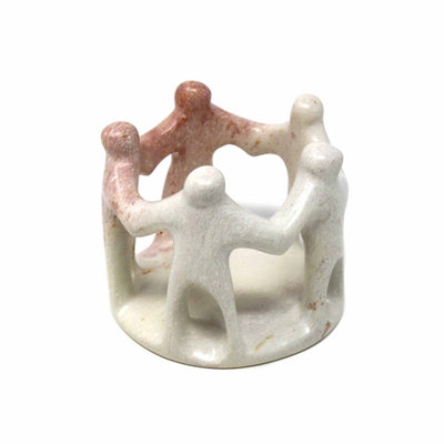 Circle of Friends Natural Soapstone Sculpture, 3-inches