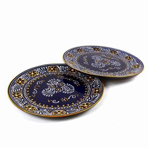 "Encantada Handmade Pottery 11.75"" Set of 2 Dinner Plates, Blue"