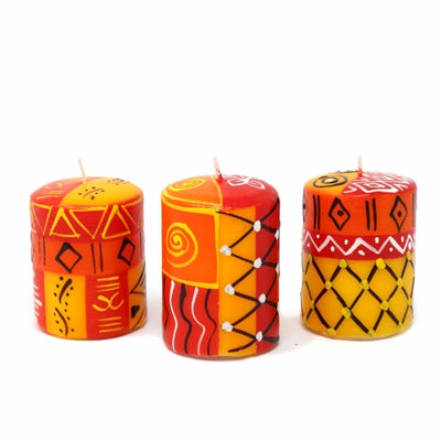 Set of Three Boxed Hand-Painted Candles - Zahabu Design