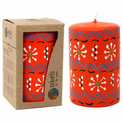 Unscented Hand-Painted Orange Pillar Candle in Gift Box, 4-inch (Masika Design)