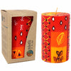 Unscented Hand-Painted Pillar Candle in Gift Box, 4-inch (Zahabu Design)