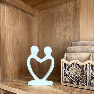 Soapstone Lover's Heart Sculpture in White