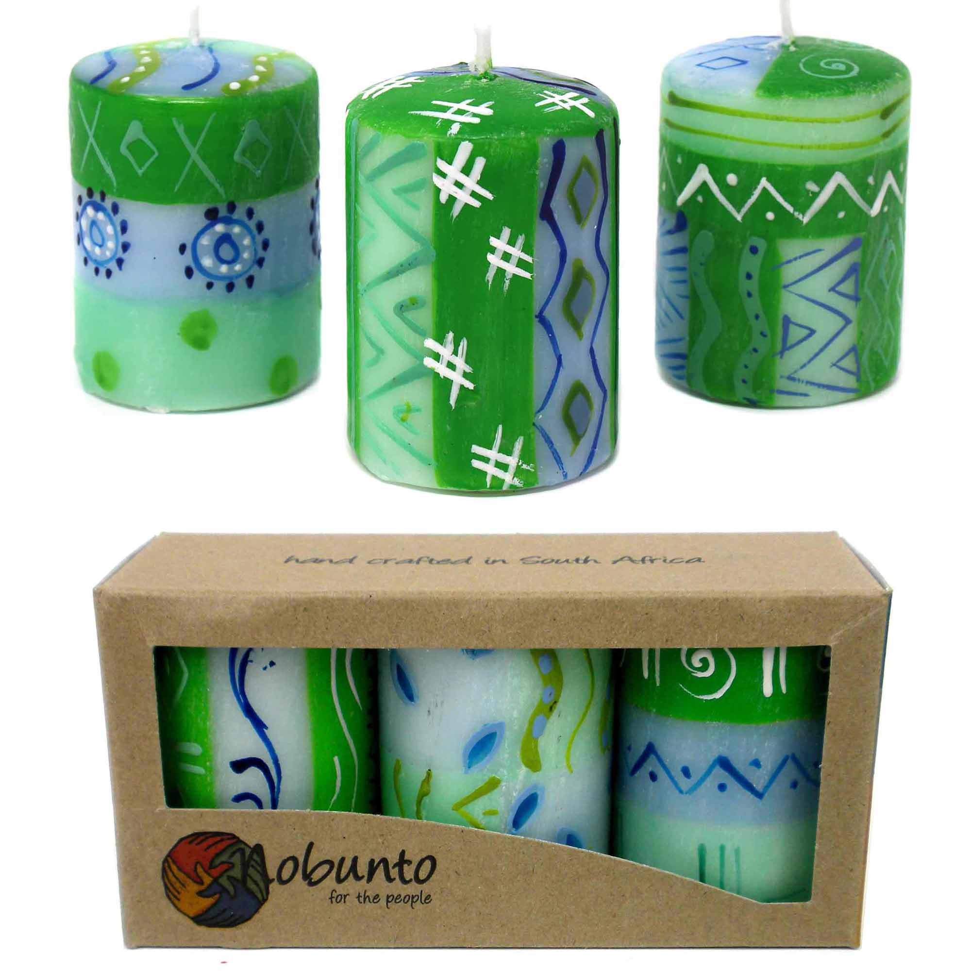 Unscented Hand-Painted Votive Candles, Boxed Set of 3 (Farih Design)