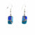 Rectangle Glass Dangle Earrings, Blue Earthtones
