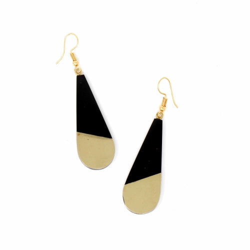 Brass & Black Bisected Teardrop Earrings