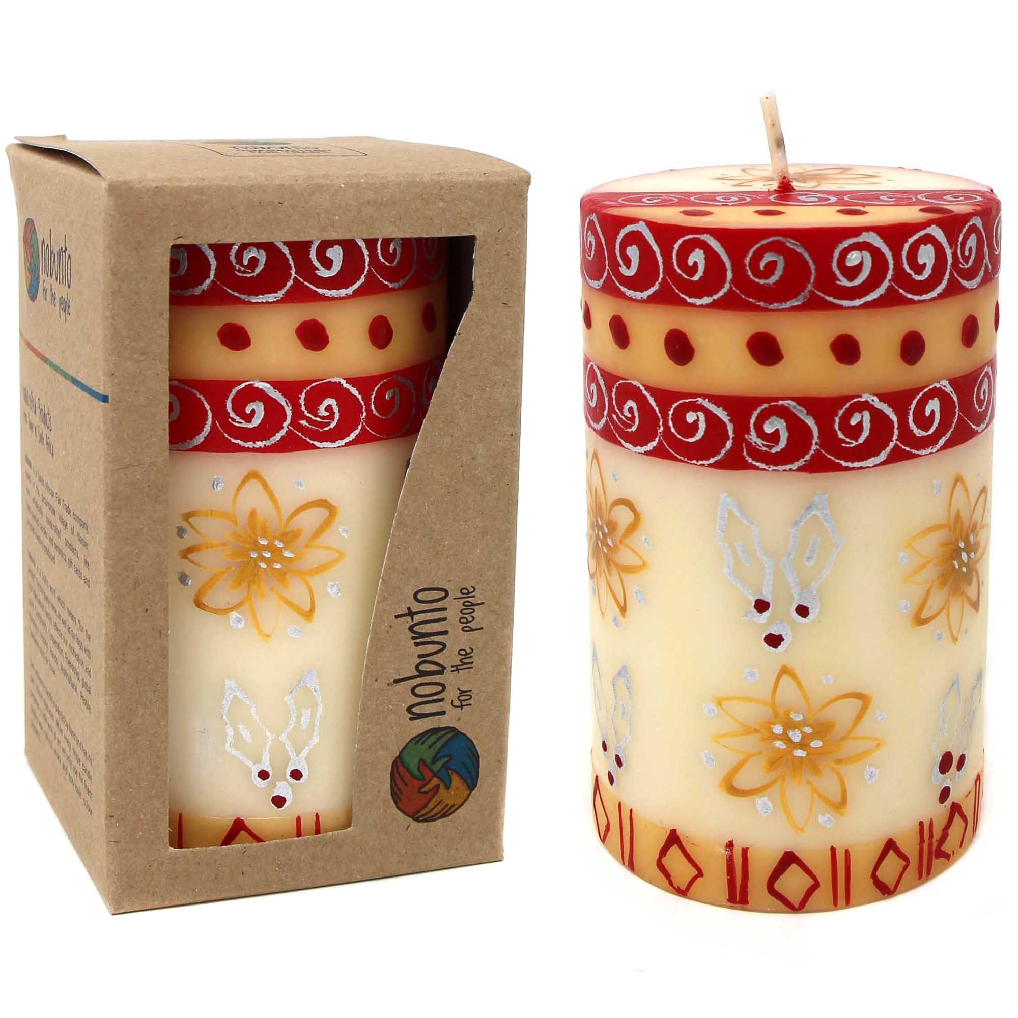 Unscented Christmas Handpainted Pillar Candle in Gift Box, 4-inch (Kimeta Design)