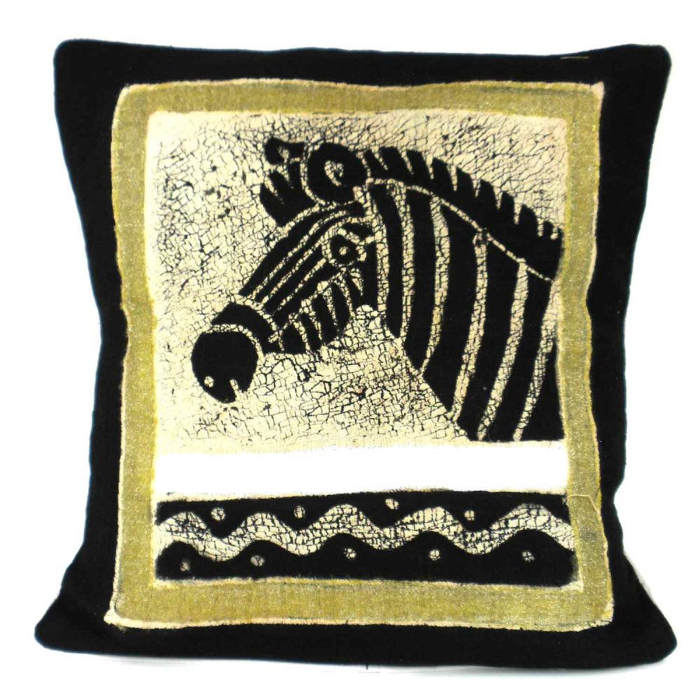 Handmade Black and White Zebra Batik Cushion Cover