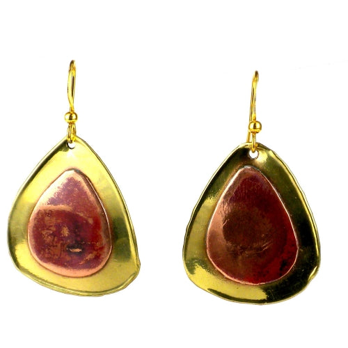 Red Copper and Brass Droplets Earrings