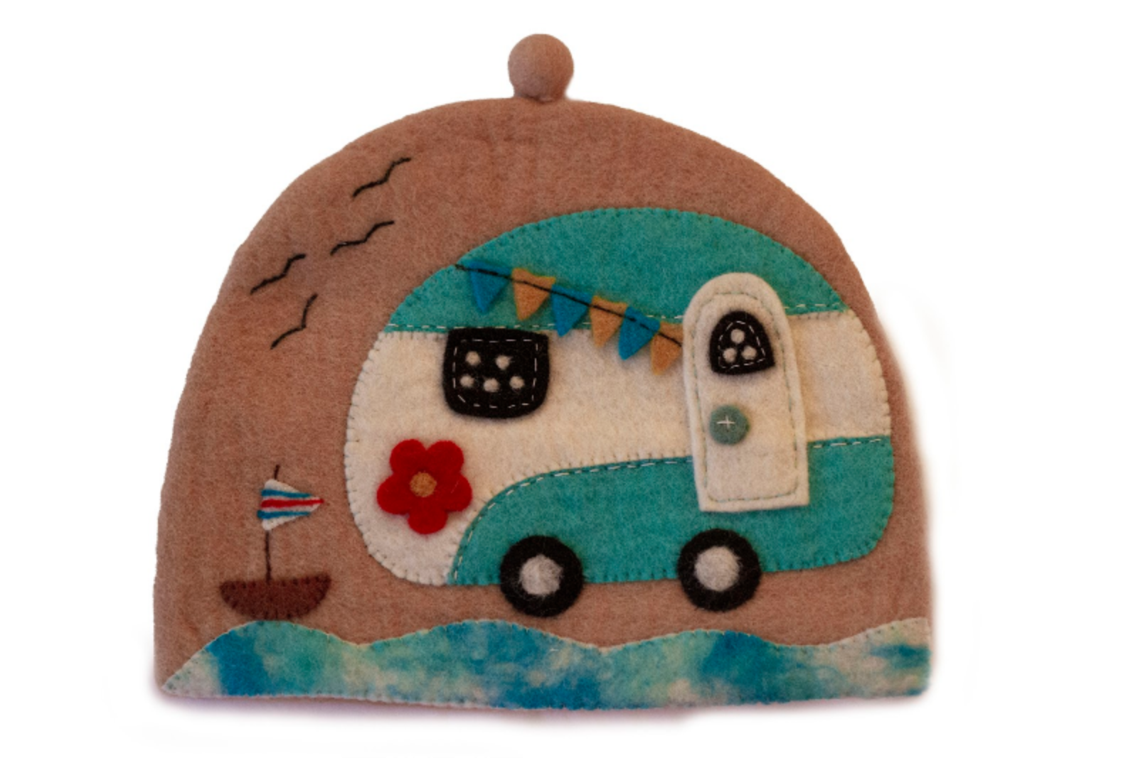Handmade Felt Happy Camper Tea Cozy