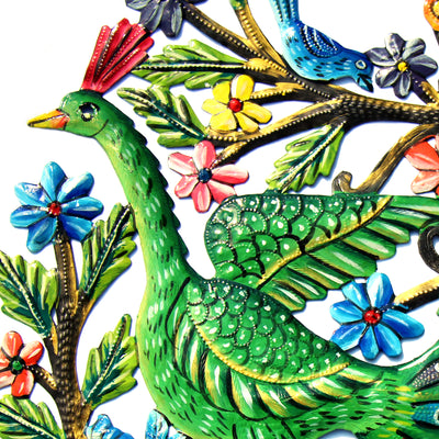 Peacock in Tree Painted Haitian Metal Drum Wall Art, 24""