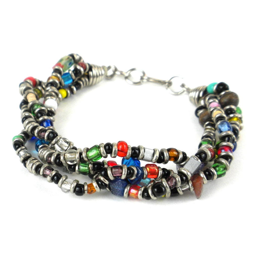 Beaded Multicolored 4 Strand Bracelet