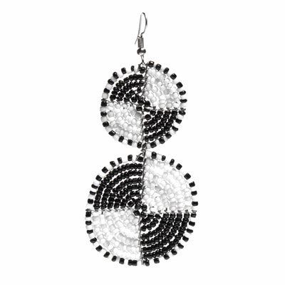 Maasai Bead Double Circle Dangle Earrings, White and Black